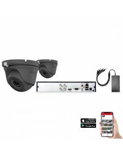 HiLook by Hikvision 2 Camera 4ch 5MP 20M CCTV Kit - Grey (HI-KIT-TVI-5MP-20M-2-GR)