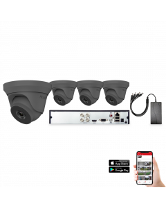 HiLook by Hikvision 4 Camera 4ch 5MP 40M CCTV Kit - Grey (HI-KIT-TVI-5MP-40M-4-GR)