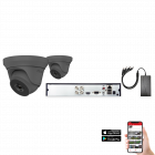 HiLook by Hikvision 2 Camera 4ch 5MP 40M CCTV Kit - Grey (HI-KIT-TVI-5MP-40M-2-GR)